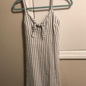 blue and white stripped tie dress